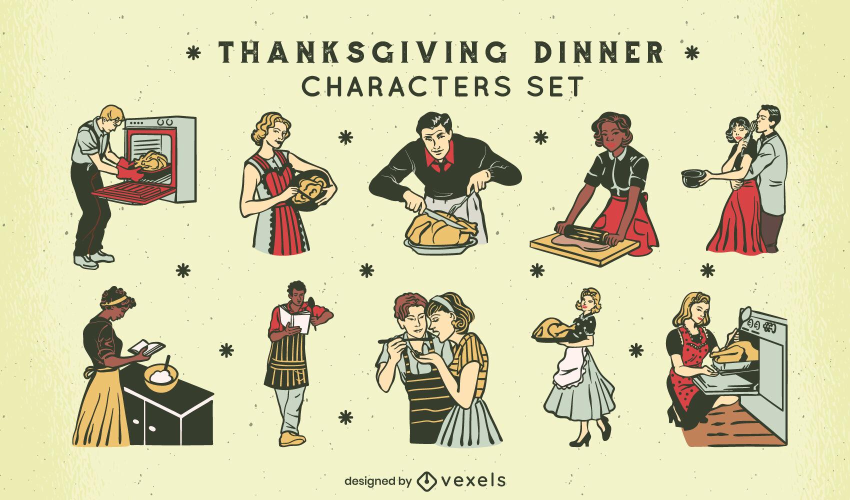 Conjunto de caracteres de los años 50 de vacaciones de acción de gracias.