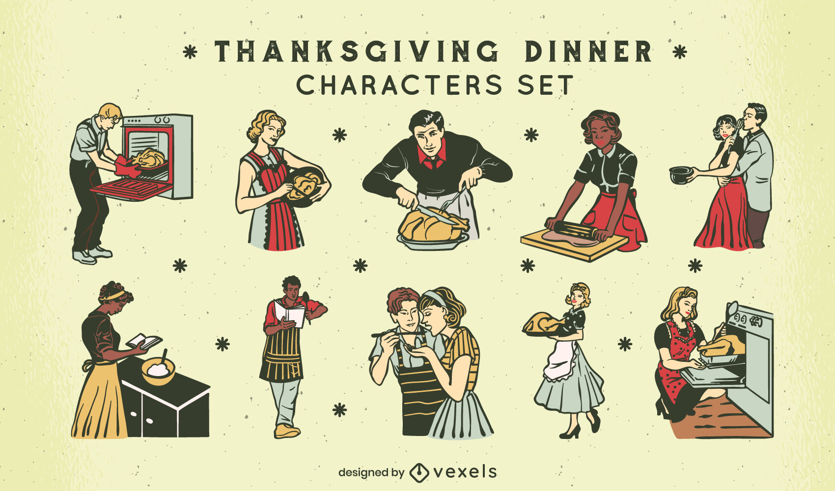 Thanksgiving holiday 50s characters set