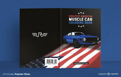 Vintage car on american flag book cover design