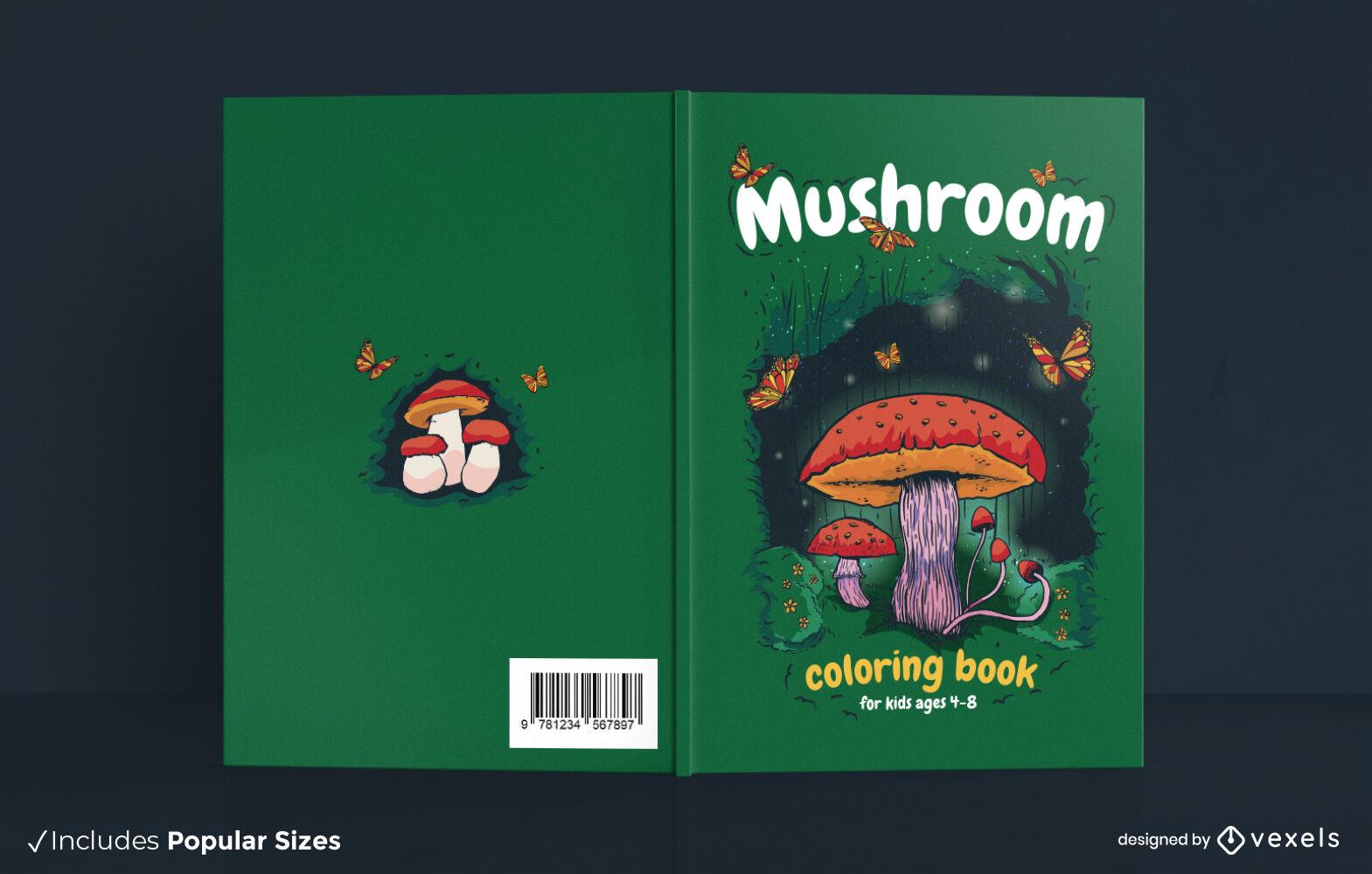 Hongo en el diseño de portada de libro de naturaleza de bosque