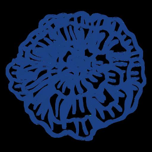 Day of the dead blue carnation flower filled stroke