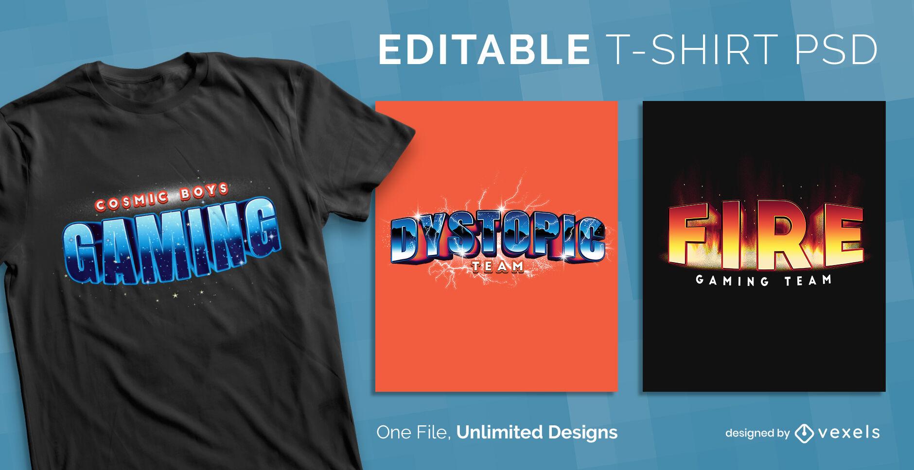 Gamer text 3D scalable psd t-shirt template