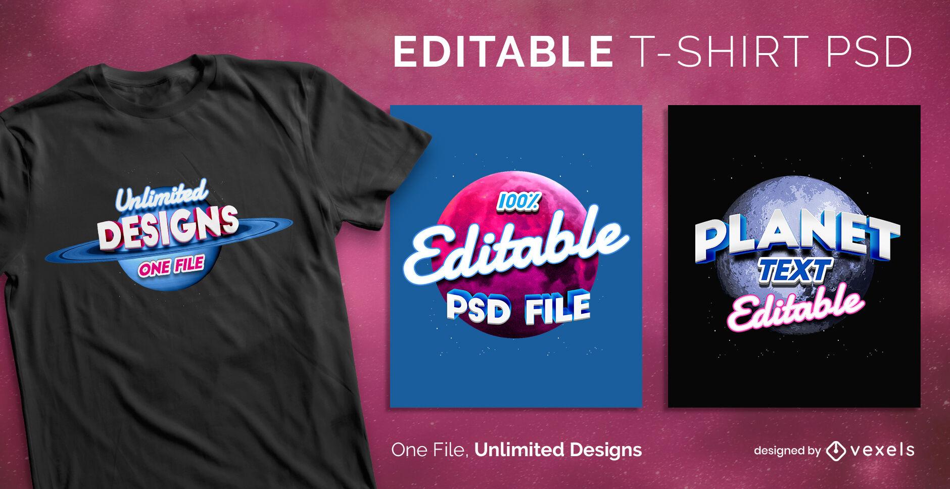 Plantilla de camiseta psd con letras de planeta 3D vintage