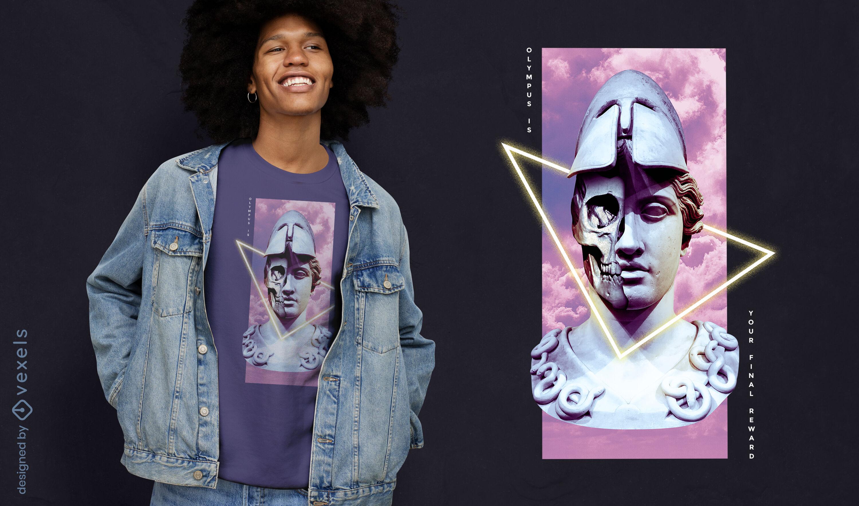 Design de camiseta psd estátua de guerreiro grego vaporwave