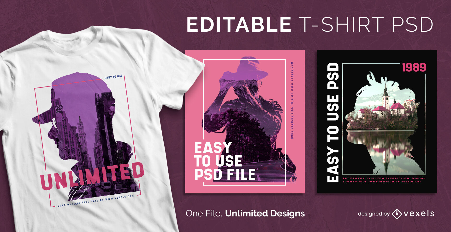 Double exposure scalable psd t-shirt template