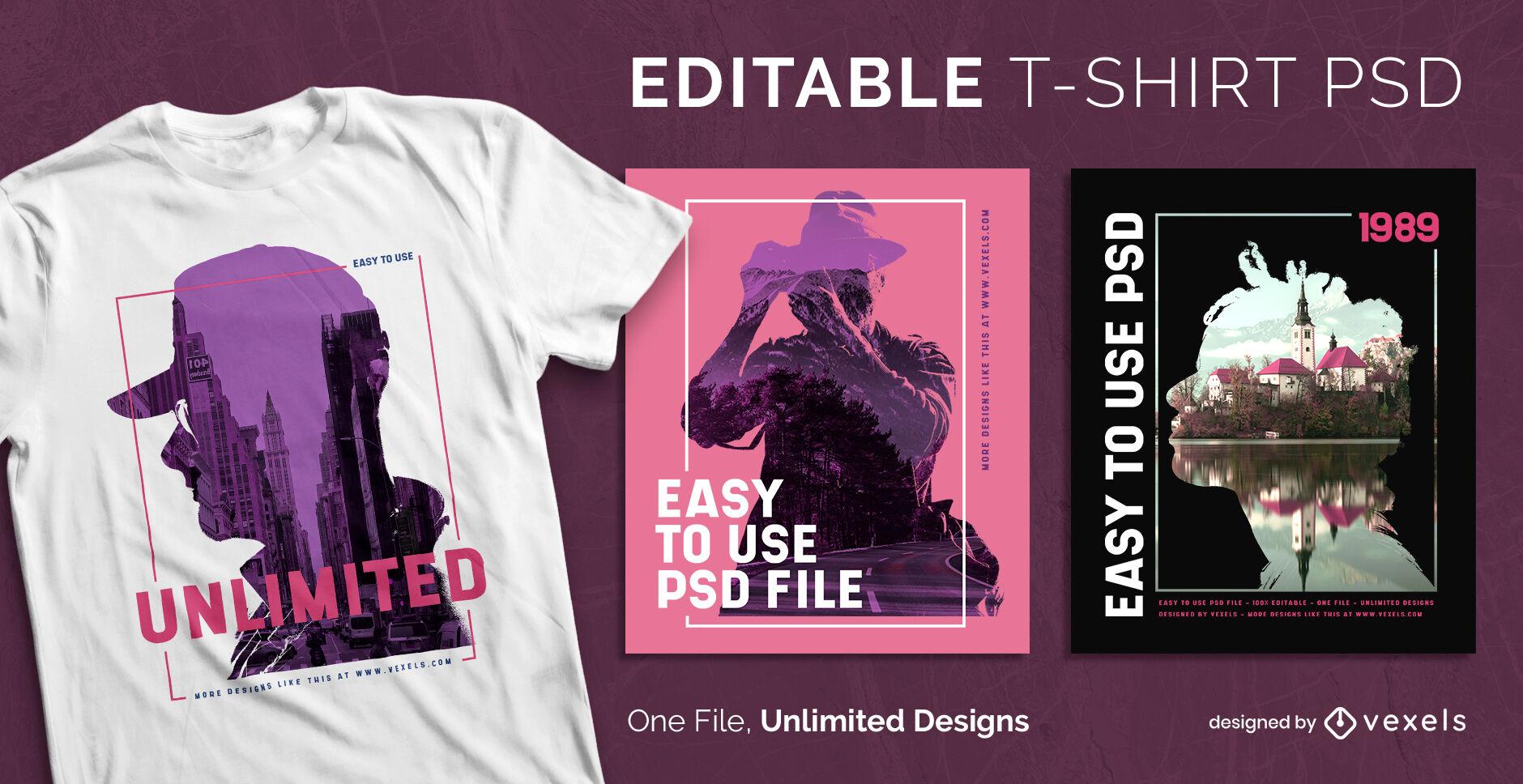 Plantilla de camiseta psd escalable de doble exposici?n