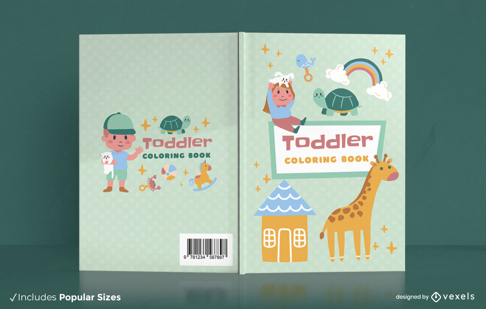 Livro de colorir para animais para crianças com design de capa