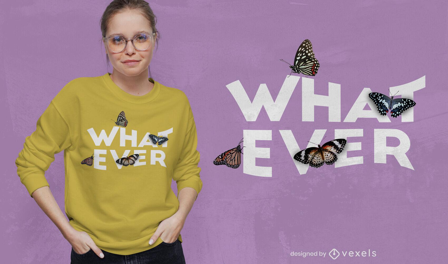 Cualquier diseño de camiseta psd de mariposas