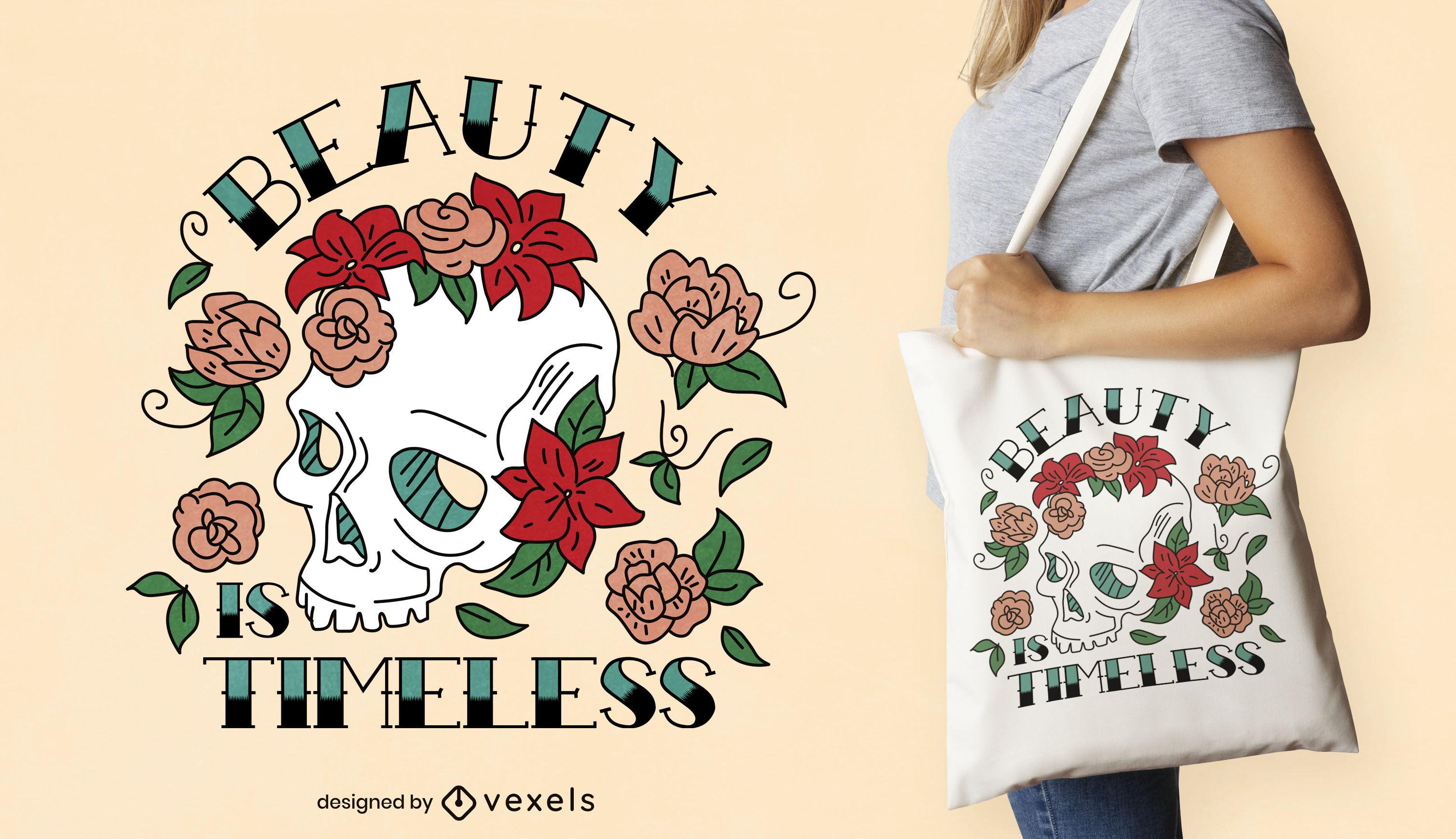 Design de bolsa floral com caveira e natureza