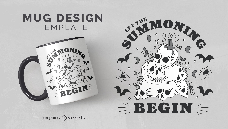 Skull pile dark magic mug template