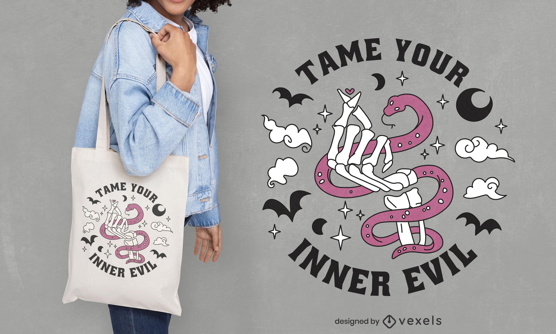 Skeleton hand making heart tote bag design