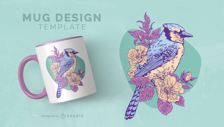Frühlingsvogel- und Blumenbecher-Designvorlage