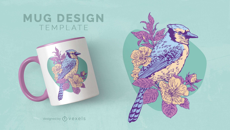 Spring bird and flower mug design template