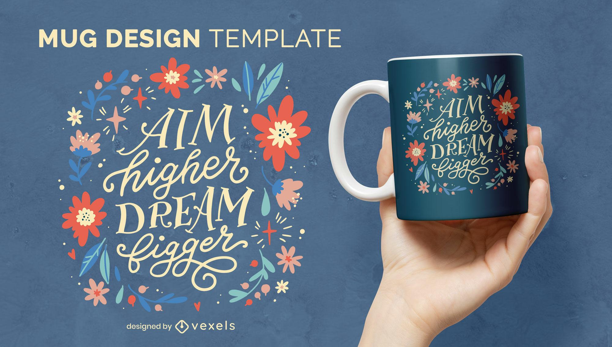 Motivational quote floral mug design