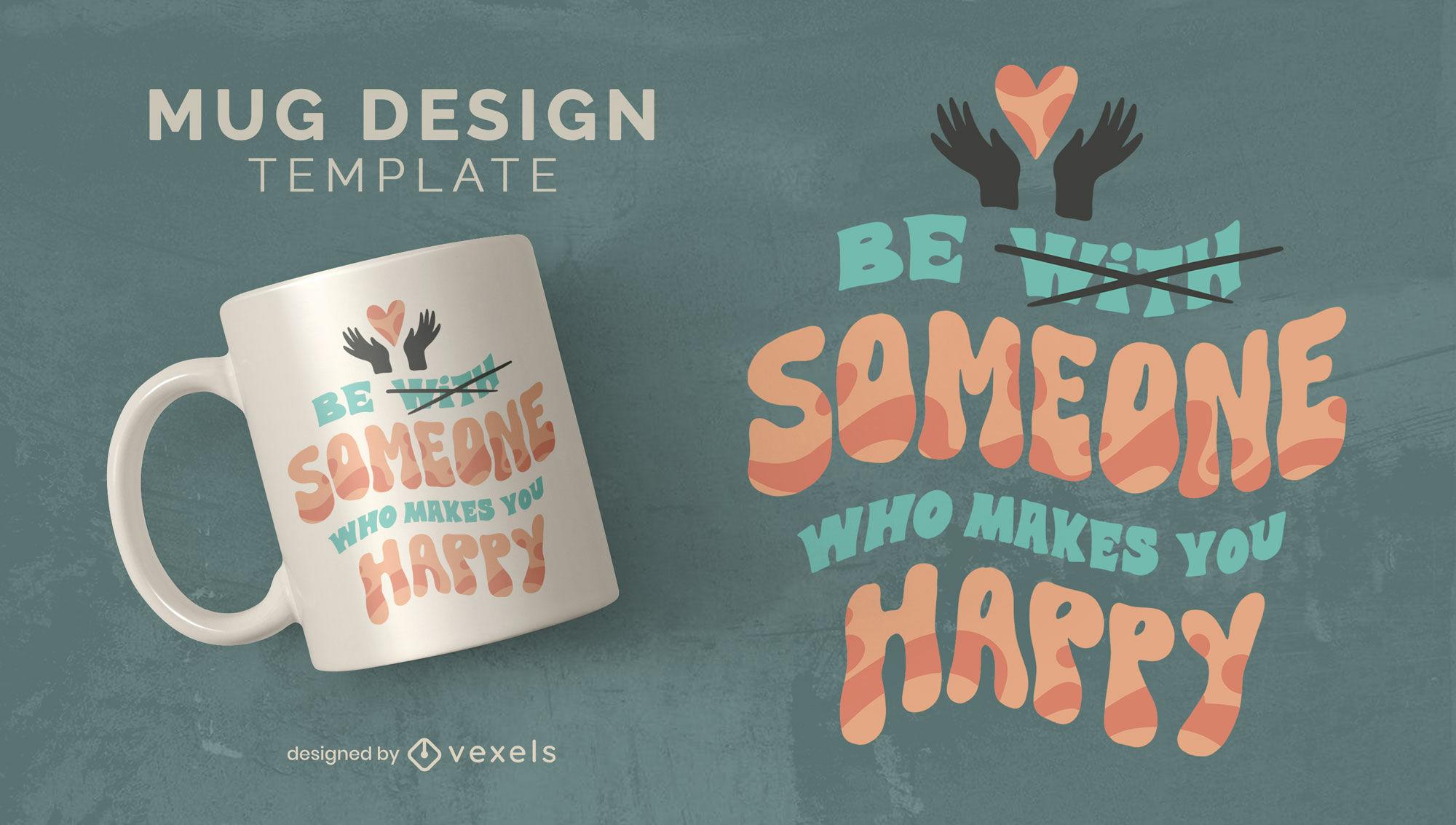 Self happiness mug design template