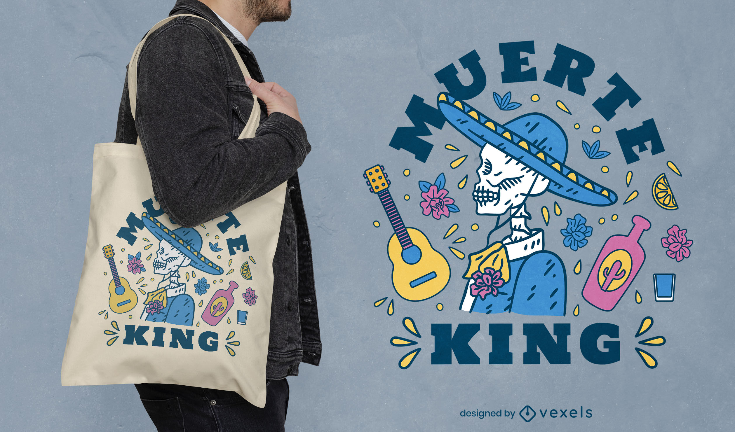 Mexican skeleton musician tote bag design