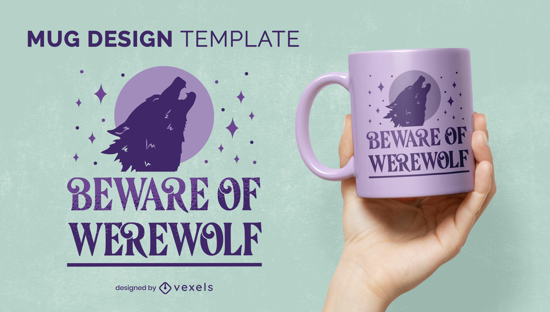 Werewolf howling to the moon mug design