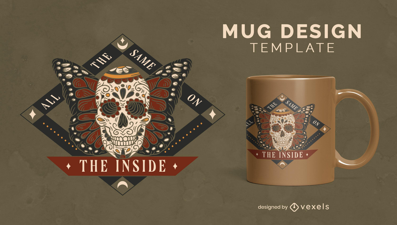 Sugar skull with butterfly wings mug design