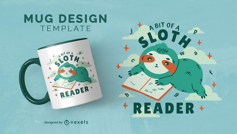 Designvorlage für süße Tassen des lesenden Faultiers lesen