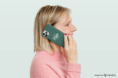 Woman and green phone case mockup