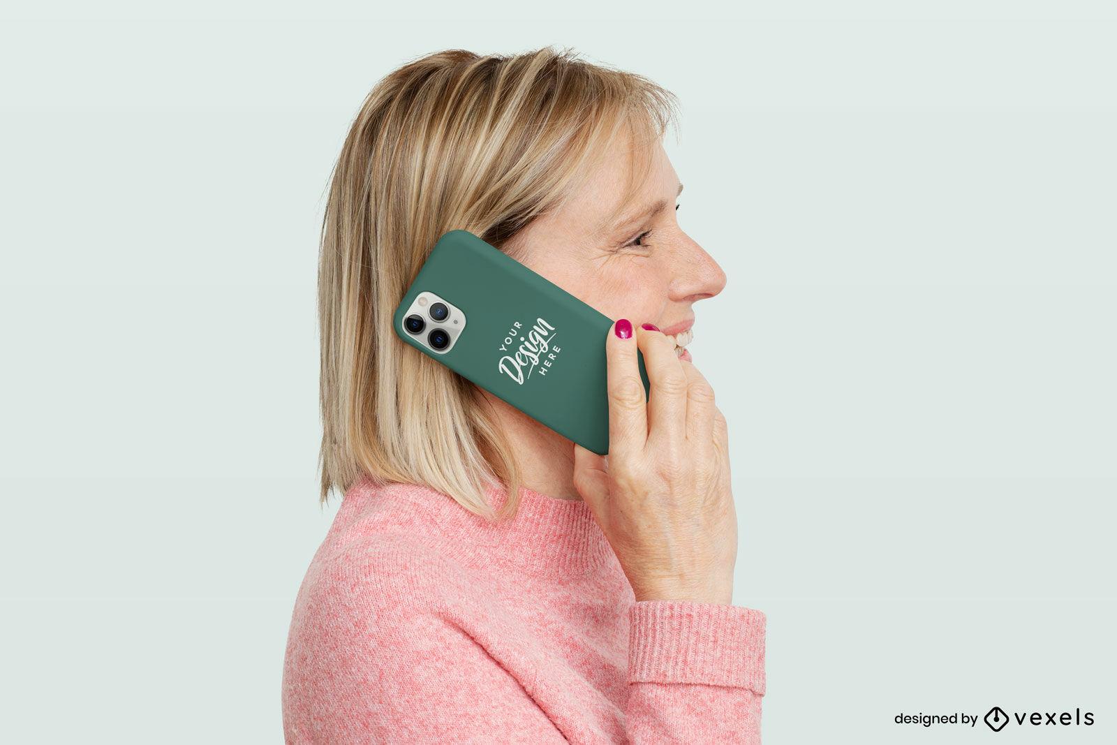 Maqueta de caja de tel?fono verde y mujer