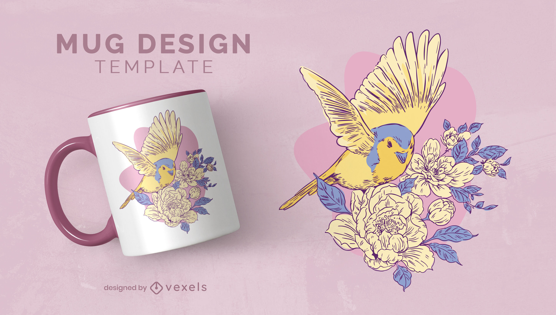 Cute bird in flowers mug design template
