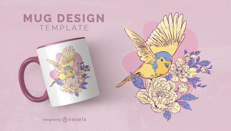 Modelo de design de caneca de pássaro fofo com flores