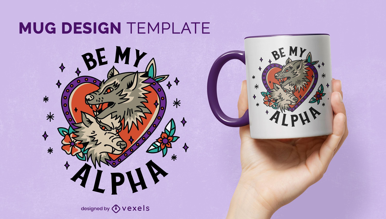 Wolf love couple mug design template