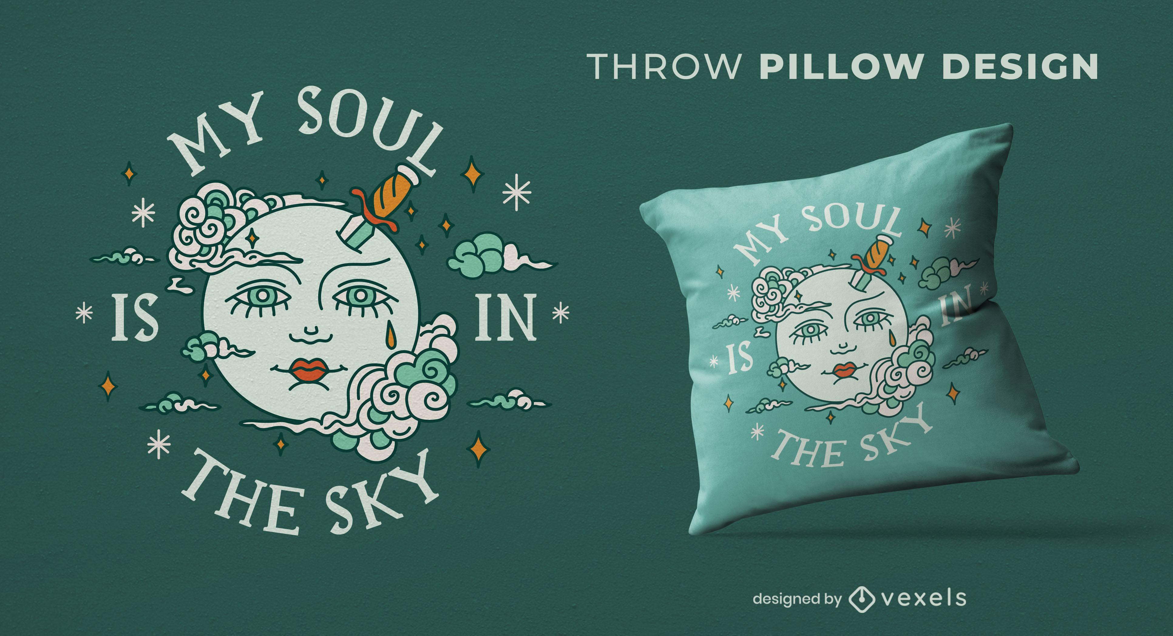 Dise?o de almohada cara en la luna