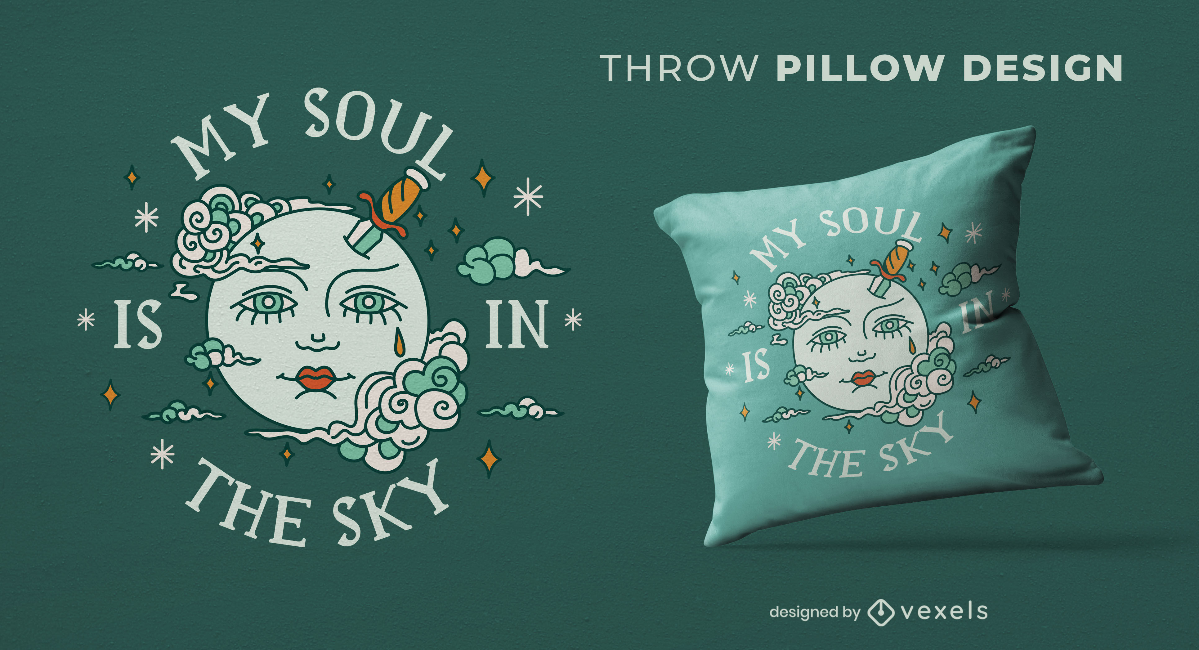 Face in the moon throw pillow design