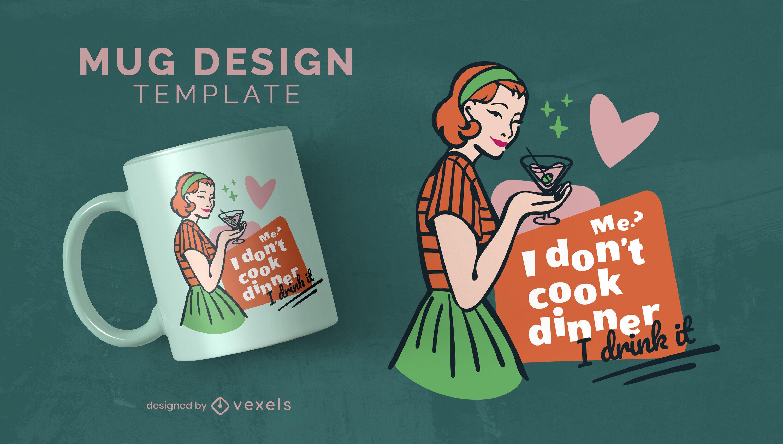 60s cartoon woman drinking mug design