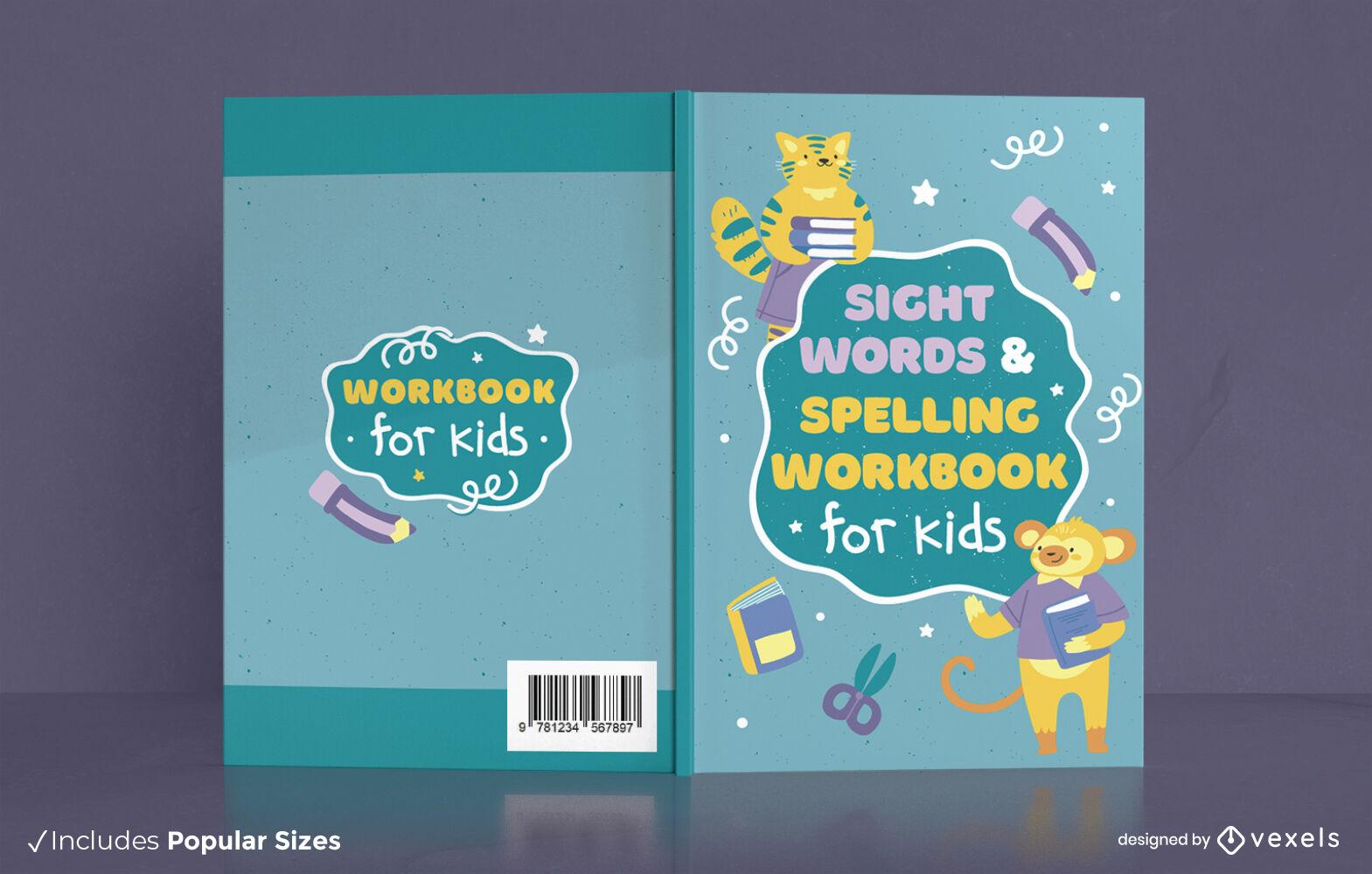 Precioso diseño de portada de libro de libro de trabajo de ortografía