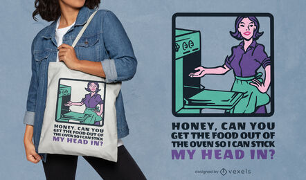 60s housewife funny tote bag design