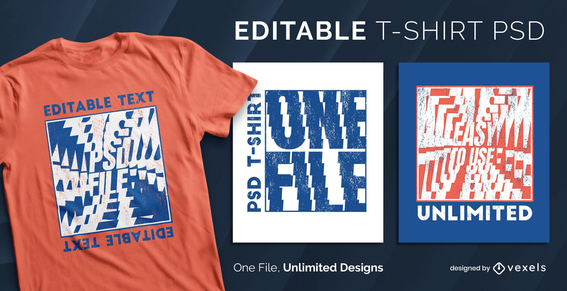 Skalierbare PSD-T-Shirt-Vorlage mit Textspiraleffekt