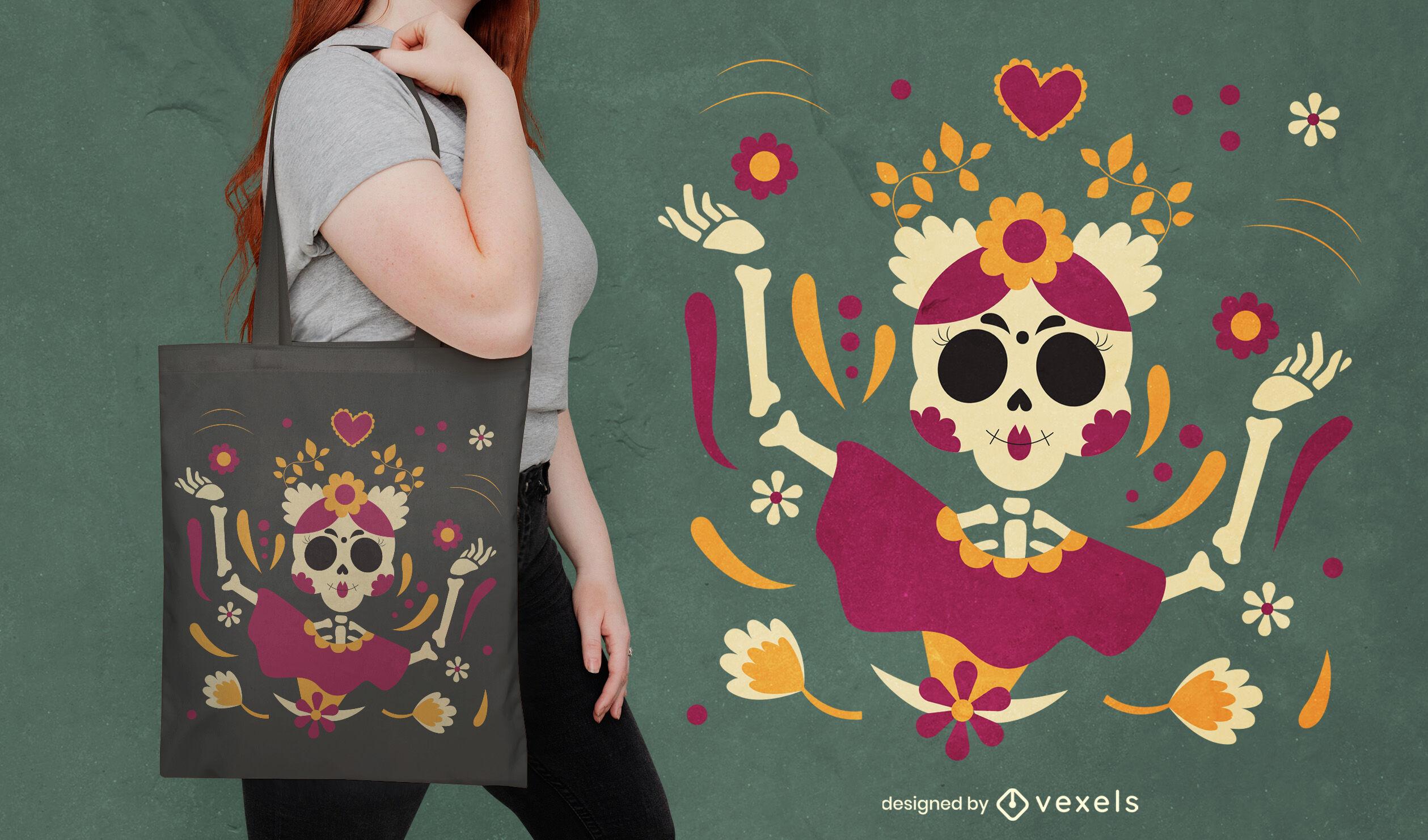 Skeleton woman floral tote bag design