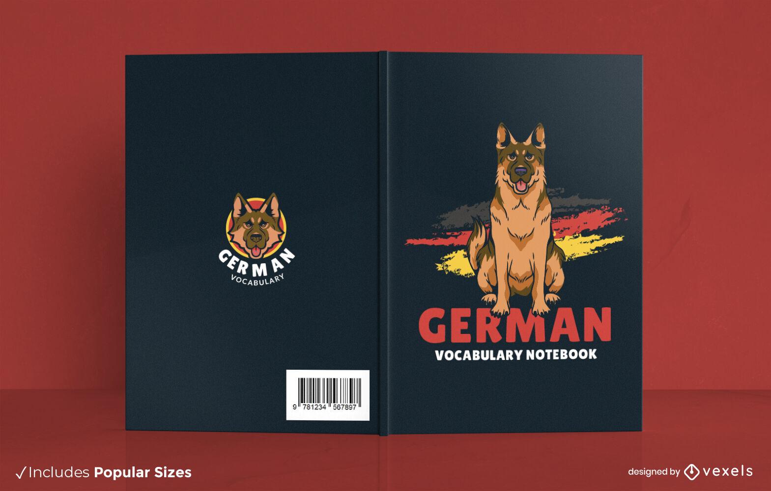 Dise?o de portada de libro de cuaderno de vocabulario alem?n