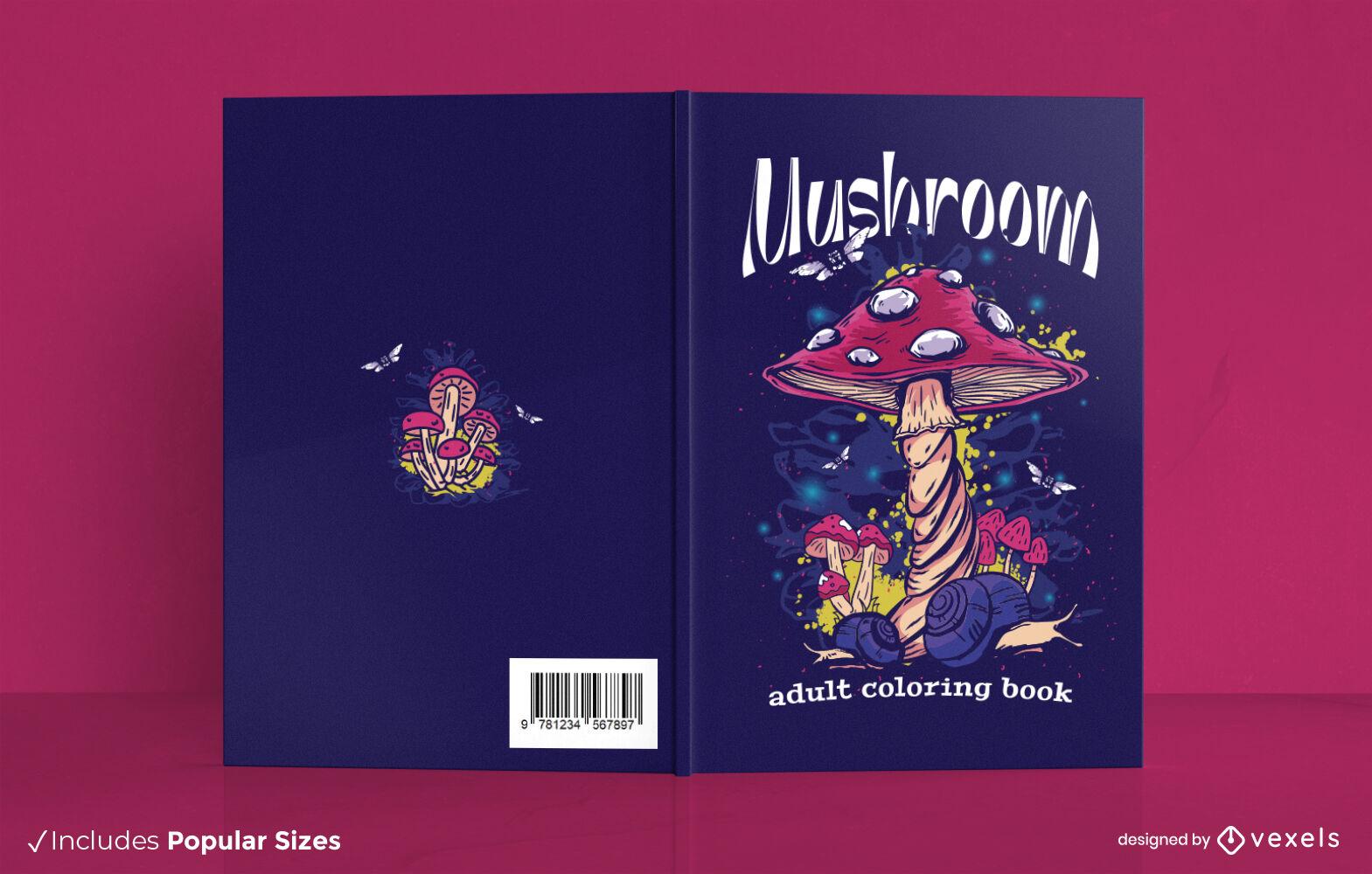 Excelente design de capa de livro para colorir em forma de cogumelo