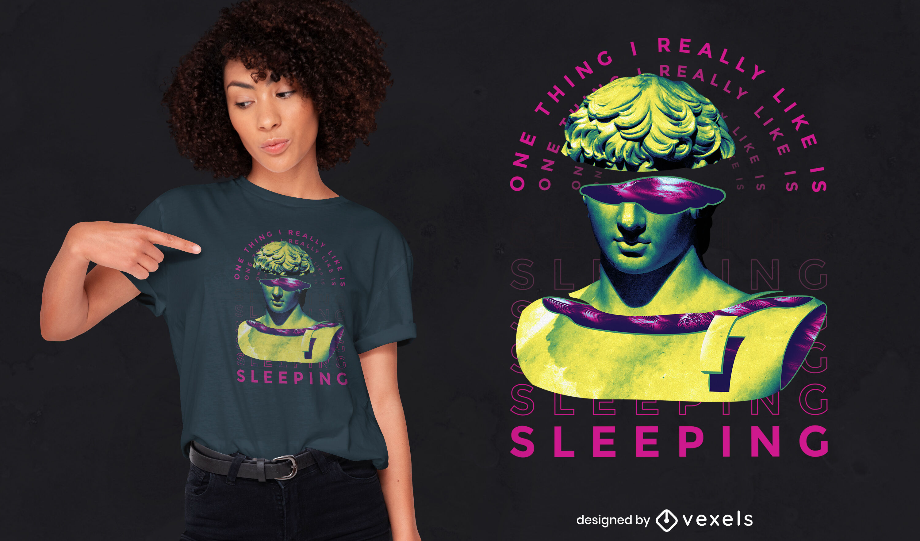 Sleeping edgy quote statue psd t-shirt design