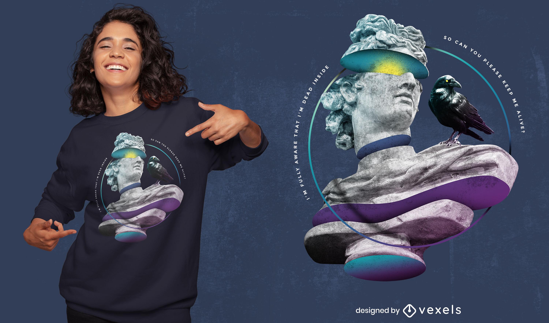 Dead inside statue dise?o de camiseta psd
