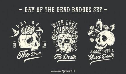 Conjunto de insignias de calavera de vacaciones del día de los muertos.