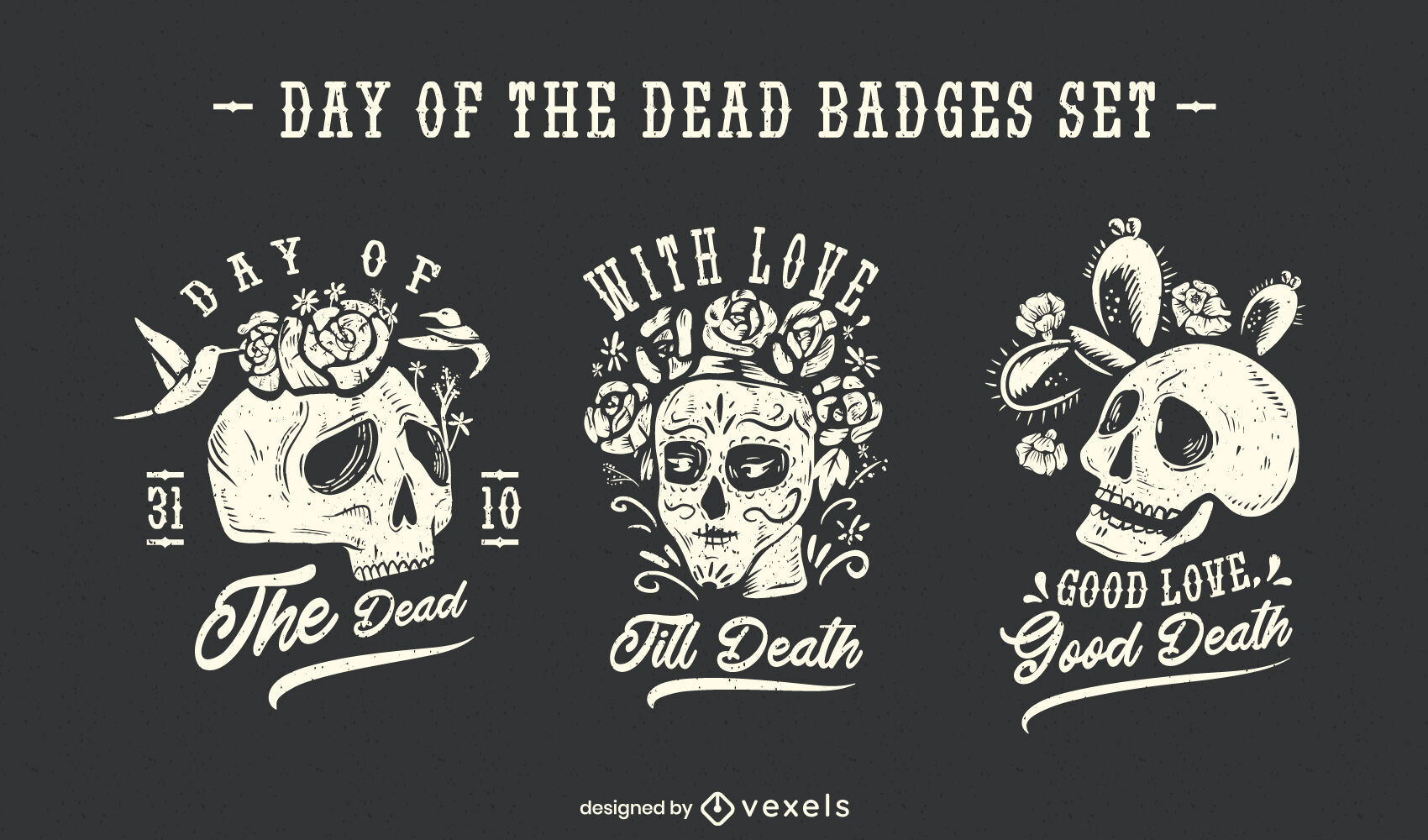 Day of the dead holiday skull badges set