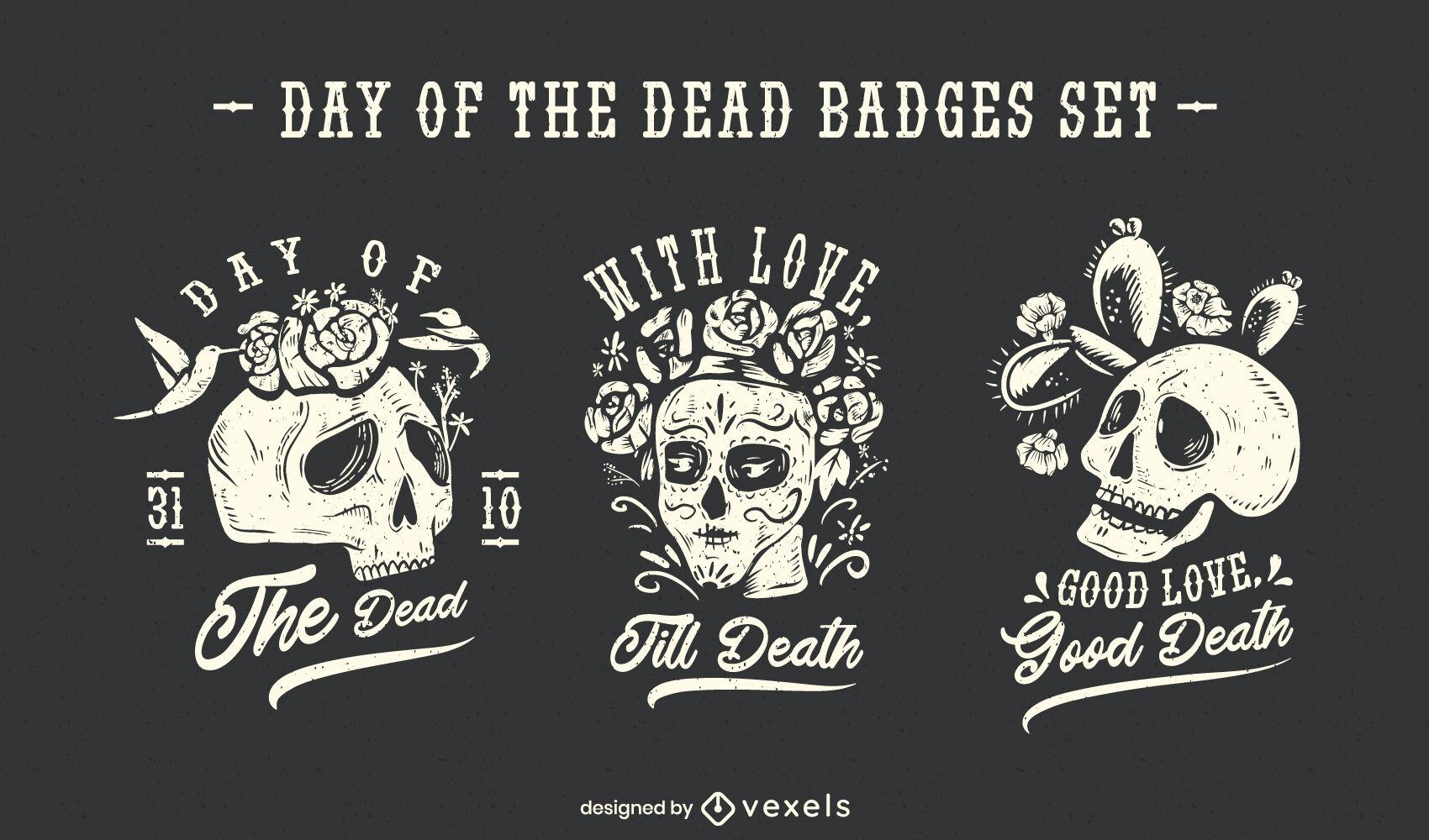 Tag der Toten Totenkopf-Abzeichen-Set