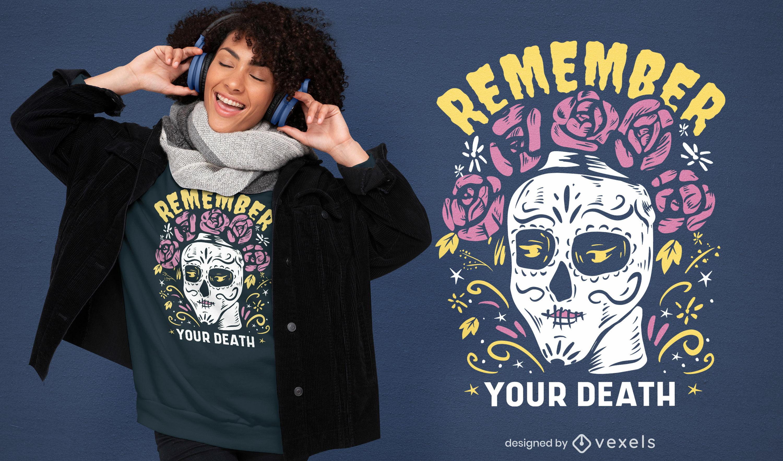 Recuerda el diseño de la camiseta del día de los muertos del cráneo.
