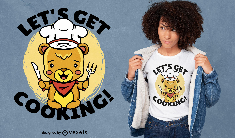Diseño de camiseta de cocina de oso de peluche.