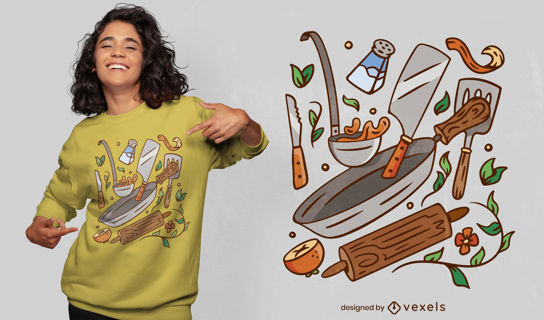 Cartoon kitchen elements t-shirt design