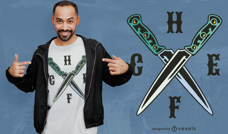 Dise?o de camiseta de cuchillos de chef.