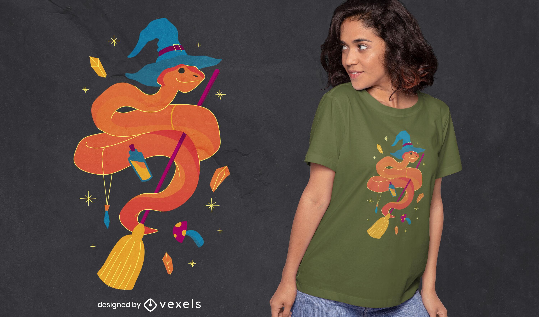 Design de t-shirt de bruxa cobra de Halloween