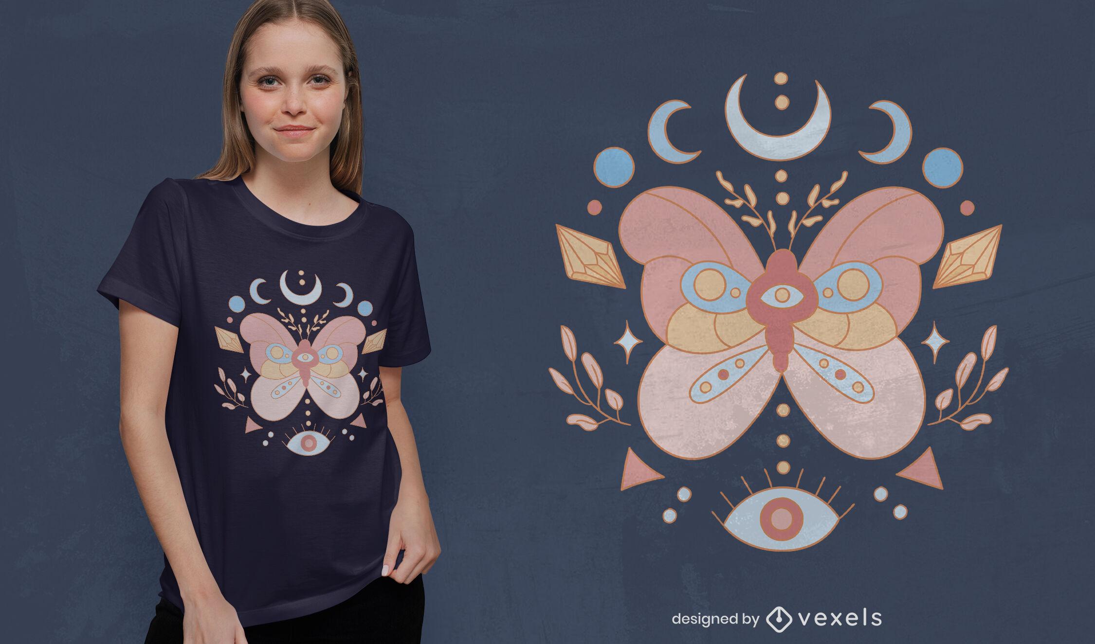 Diseño de camiseta de mariposa esotérica.