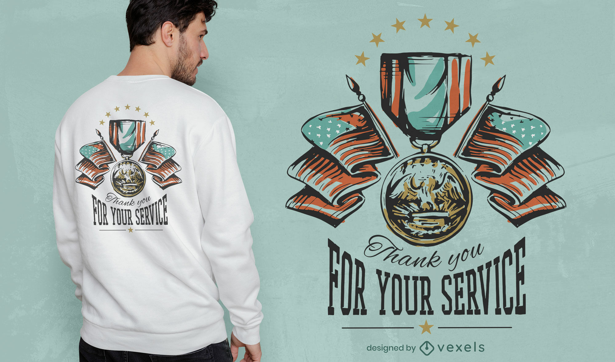 Gracias, veteranos dise?o de camiseta.