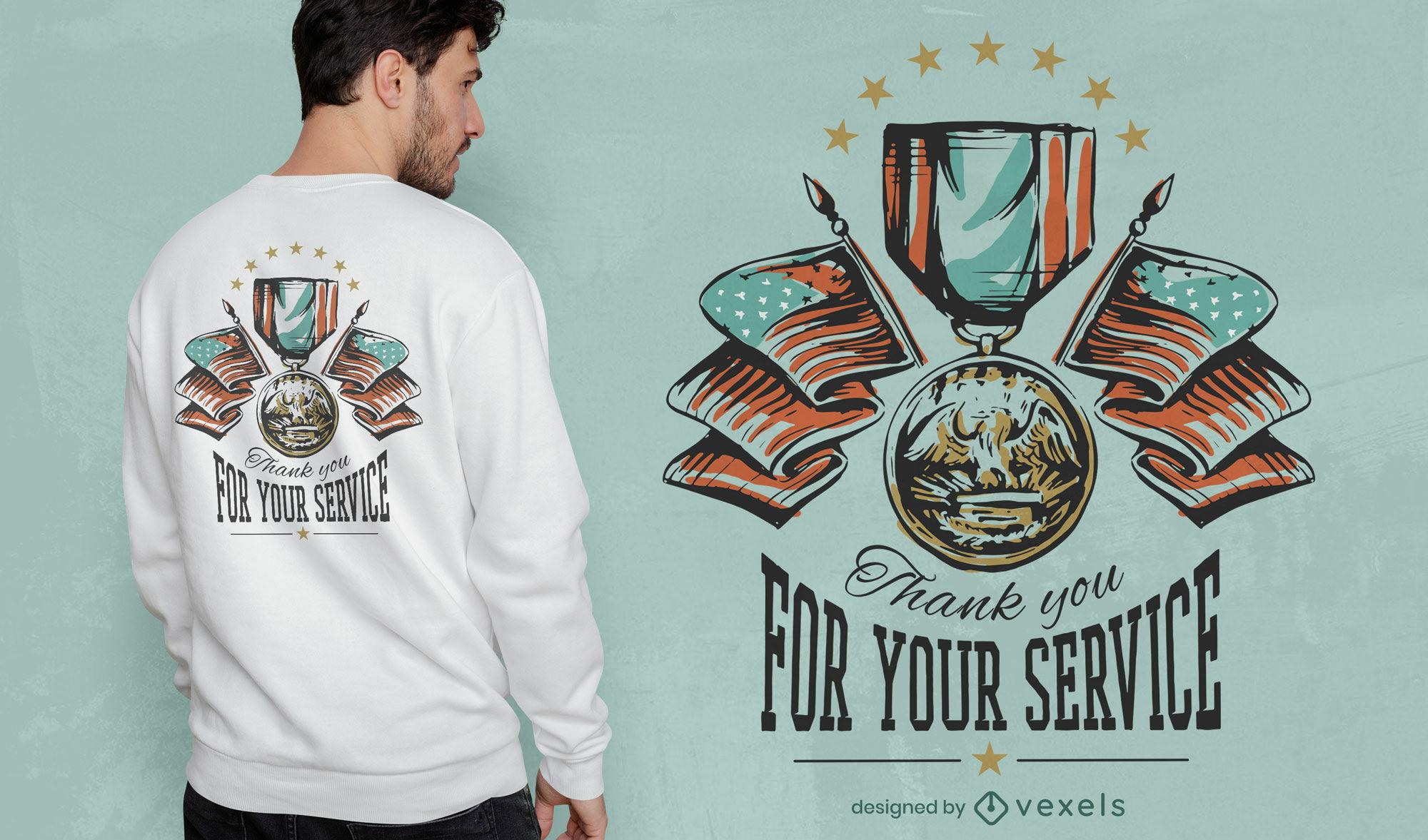 Obrigado, design de t-shirt dos veteranos